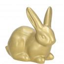 Ceramic bunny Felix, L8cm, W4cm, H6.5cm, gold glos